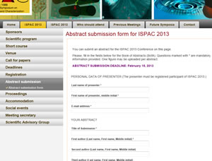 Abstract submission form in conference website